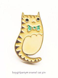 Bowtie Cat Enamel Pin / Brass Lapel Pin by boygirlparty