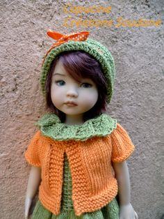 little darling from dianna effner mold painted by lana dobbs  outfit created and handknitted by Soudane SouDane