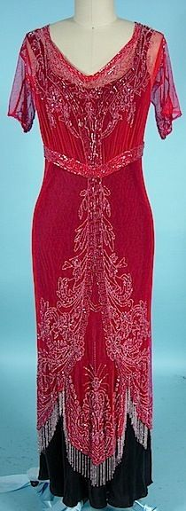 Red cotton Net Clear Beaded Overdress with beaded fringe.  Circa 1912.