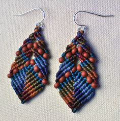 Beaded Buddha Earrings in Blue/Brown by AMiRAjewelry on Etsy