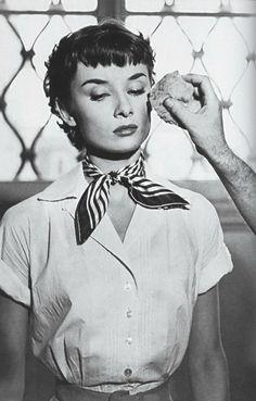 Audrey Hepburn behind the scenes of Roman Holiday in 1953.
