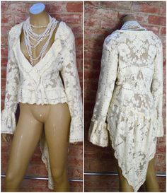 Victorian Shabby Chic Lace Jacket Quaker lace by BlackRainCouture