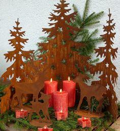 halbrundes Dekoelement mit 3 Weihnachtsbäumen