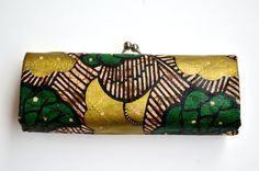 Green And Brown African Print Formal Clutch - Fold Over Envelope Clutch - Wedding Purse- African Kente Print Purse By Zabba designs