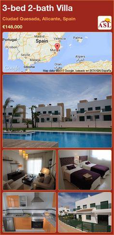 3-bed 2-bath Villa in Ciudad Quesada, Alicante, Spain ►€148,000 #PropertyForSaleInSpain