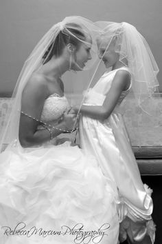 Picture under the veil with the miniature bride or flower girl