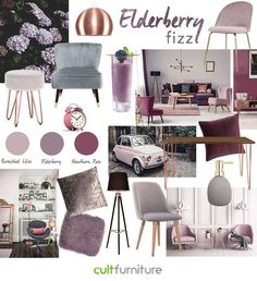 Elderberry Fizz... Soft and inviting, elderberry tones open up your space and work well with light walls, as well as dark interiors. Rethink the home using our collection of accent chairs, velvet stools, fluffy cushions and more, all in this dusty hue. #decorhome #decorideas #homedecoronabudget #homedecor #diyhomedecor #homedecorideas #homedecoronabudget