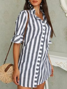 Pinstripes Zipper Flared Sleeve Casual Blouse Women Clothes For Cheap, Collections, Styles Perfectly Fit You, Never Miss It! Trend Fashion, Womens Fashion, Fashion Design, Fashion Ideas, Ladies Fashion, Cheap Fashion, Fashion Top, Mode Outfits, Fashion Outfits