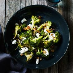 roasted broccoli w/ walnuts + goat cheese [Food & Wine]