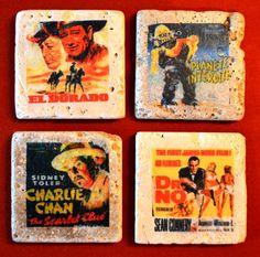 A set of customizable movie coasters. 4x4 travertine marble.