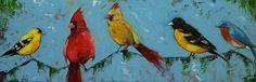 Birds painting 122 12x36 inch original cardinal bluejay birds portrait oil painting by Roz