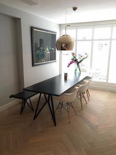 Studio H&K | Design Eettafel Butterfly Zwart Eikenhout Staal All Black | www.studio-henk.nl