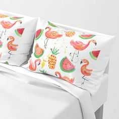 Vibrant flamingos strut among juicy pineapples and huge slices of watermelon. This is the tropical life. Our Pillow Shams merge creativity with premium fabrics, bringing unique style to your bedroom. Each design is printed on soft, fuzzy 100% polyester for rich colors and sharp images that dont fade. The reverse side is a white 50/50 poly-cotton blend with an envelope closure down the middle to keep pillows snug. Machine wash cold (no bleach), tumble dry low. Available in STANDARD (20 x ...