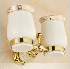 (46.88$)  Watch now - http://ai6zq.worlditems.win/all/product.php?id=32621910468 - European Style Double Cup Holder Toothbrush Holder with Ceramic Cups Gold Brass Solid Brass Rack Tumbler Holder Wall Mounted