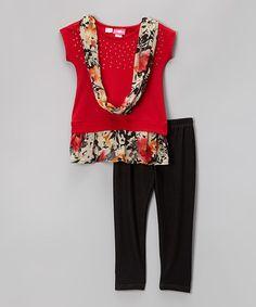 Look what I found on #zulily! Red Floral Rhinestone Tunic Set - Girls #zulilyfinds