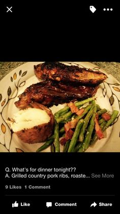 Country pork ribs, baked Red potato, roasted green beans with bacon and parmesan cheese