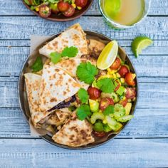 Chicken and Bean Quesadillas with Corn, Avocado and Tomato Salad by Nadia Lim | NadiaLim.com
