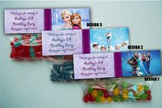 PERSONALIZED – DISNEY'S FROZEN Bag Topper for Ziplock Goodie Bags 10ct-40ct Fast on Etsy, $14.99