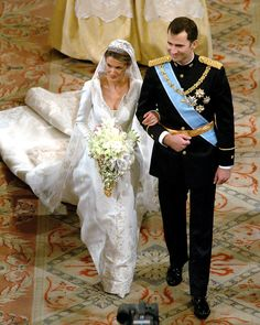 Letizia and Felipe were all smiles on their wedding day in Madrid in May 2004.