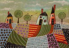 3 Houses ORIGINAL Canvas Panel PAINTING FOLK ART Abstract 5 x 7 Birds Karla G #FolkArtAbstractPrimitive