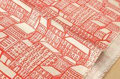 Tissus japonais City Living rouge 50cm par MissMatatabi sur Etsy