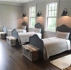Gorgeous 50 Farmhouse Bedroom Design And Decor Ideas Everyone will love the quiet atmosphere at home, because after a day of working at the office busy with various jobs. And when they are at home, they hope to get peace. Therefore the house should b… Home Bedroom, Girls Bedroom, Triplets Bedroom, Twin Bedroom Ideas, Modern Bedroom, Bedroom Decor Kids, Boys Bunk Bed Room Ideas, Twin Room, Bedroom Neutral