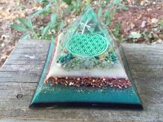 Orgonite Pyramid  Flower of Life  Heart Chakra  by 432oneness