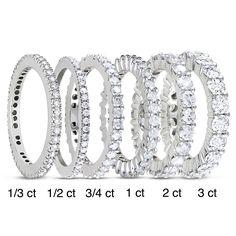 Miadora 14k White Gold TDW Diamond Eternity Ring (G-H, I1-I2) (0.50ct - Size 6), Women's, White G-H