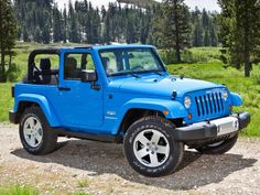 Beautiful blue jeep wrangler 2 door. My dream car!!