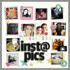 """#papercraft #scrapbook #layout.  """"Instapics"""" from the gallery at Real Life Scrapped"""