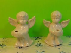 Set Of 2 Vintage Collectible White Ceramic Angel Candle Holders  | eBay