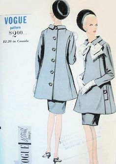 1960s Striking Ultra Mod Suit Pattern High Fitted Shaped Princess Seam Tunic Jacket, Slim Darted Skirt Vogue Special Design 7000 Vintage Sew...