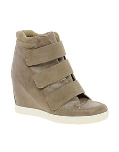 ASOS DOUBLE TROUBLE Wedge Trainers with Velcro and Suede Detail