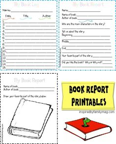 4 Printable Book Report Forms {Elementary} & reading log