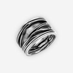 Argento Sterling annerito anello ampio scolpito dalle di zanGGarts