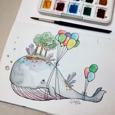 Baleia - Watercolor - Aquarela - Balões