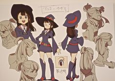 """as-warm-as-choco: """"Little Witch Academia Background Art, Character Designs, KA Cuts (from Anime Mirai exhibition and the official BD) """" Character Model Sheet, Character Poses, Female Character Design, Character Sheet, Character Modeling, Character Design References, Character Design Inspiration, Character Concept, Character Art"""