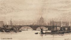 """A fine etching entitled """"London Bridge"""" by Wilfred Williams Ball RBA RE (English This is from a collection of 10 etchings of scenes along the Thames that we are selling. Wilfred Williams Ball exhibited widely at the Royal Academy, Royal Socie Mosquito Curtains, London Bridge, Water Damage, Wood Engraving, South America, Worlds Largest, Tent, Camping, Landscape"""