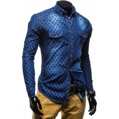 Pánska košeľa - riflový vzhľad- TOP Denim Button Up, Button Up Shirts, Leather Jacket, Jackets, Tops, Fashion, Studded Leather Jacket, Down Jackets, Moda