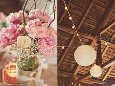 Barn. paper lanterns. pink peonies. curly willow. wedding centerpiece. twine. Rustic wedding. Dirt Road Photography @Christy Stroup