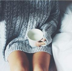 Hot chocolate; a good movie and a big chunky sweater.. thats all I need tonight... Baby it's cold outside...