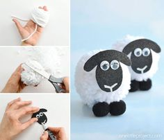 These pom pom sheep are SO CUTE and really simple to make! It's easy to make DIY pom poms from yarn just by using your hands! Such a great kids craft for springtime! Crafts For Teens To Make, Easter Crafts For Kids, Crafts To Sell, Art For Kids, Diy And Crafts, Eid Crafts, Craft Stick Crafts, Pom Poms, Sheep Crafts