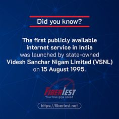 Did you know? The first publicly available internet service in India was launched by state-owned Videsh Sanchar Nigam Limited (VSNL) on 15 August 1995. #fiberinternet #internetservice #VSNL #internetspeed #publicinternet #fibertest Internet Speed Test, Fiber Internet, 15 August, Did You Know, Product Launch, India, Goa India, Indie, Indian