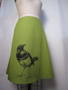 Bird Screen Print Skirt - Aline Cotton Skirt - Silk Screen Printed to Order