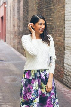 white cable knit sweater, midi skirt, eater style