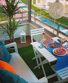 Balkon, Mavi, Turuncu To be able to have a wonderful Modern Garden Decoration, it's beneficial to be available to all … House With Balcony, Small Balcony Decor, Small Outdoor Spaces, Balcony Design, Sweet Home, Outdoor Furniture Sets, Outdoor Decor, Home Staging, Interior Design Living Room