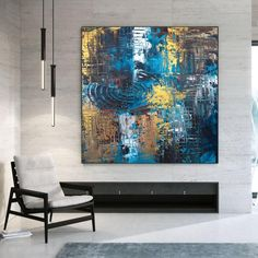 Oversized Wall Art Abstract Painting On Canvas Office image 8 Colorful Artwork, Colorful Paintings, Your Paintings, Original Paintings, Original Art, Office Wall Art, Office Decor, Oversized Wall Art, Extra Large Wall Art
