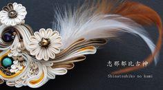Japanese hair accessory for kimono by Himeko つまみ細工「風神/志那都比古神 (Shinatsuhiko no…