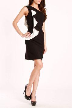 Asymmetrical Dress In Black & Ivory
