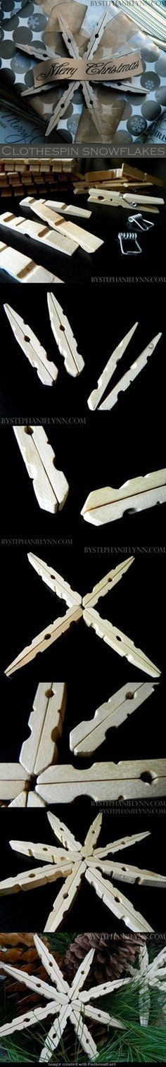 Wooden Clothespin Snowflake Ornaments. Make these beautiful snowflake tree ornaments with glittery clothes pins and add beautiful sparkle to your Christmas tree! Easy and Fun DIY Christmas crafts for You and Your Kids to Have Fun.